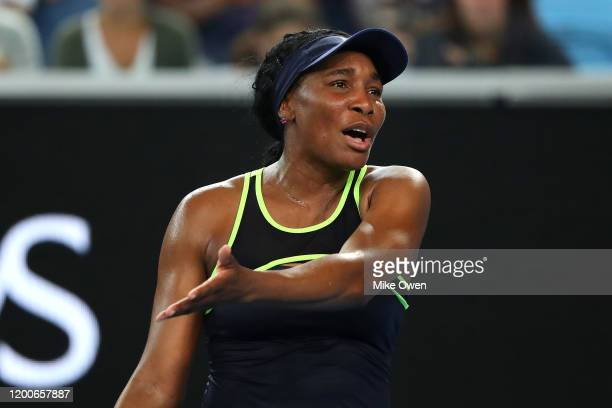 Venus Williams of the United States of America reacts during her Women's Singles first round match against Coco Gauff of the United States of America...
