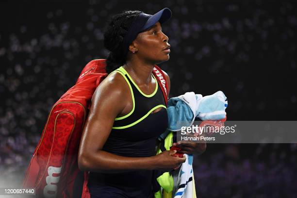 Venus Williams of the United States of America walks off court after losing her Women's Singles first round match against Coco Gauff of the United...