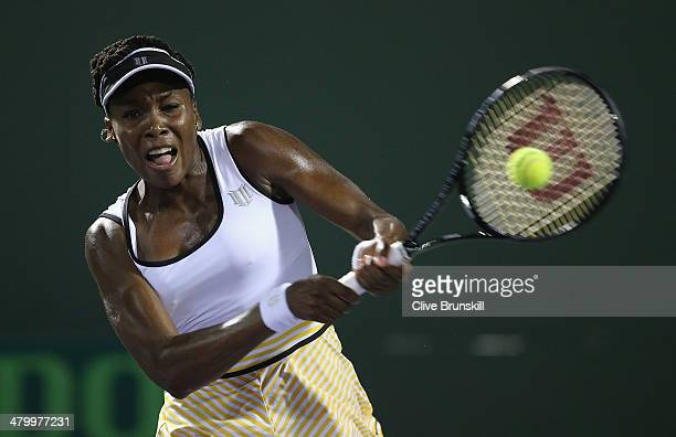 Venus Williams of the United States plays a backhand against Anna Schmedlova of Slovakia during their second round match during day 5 at the Sony...