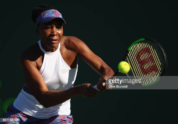 Venus Williams of the United States plays a backhand against Natalia Vikhlyantseva of Russia in their second round match during the Miami Open...