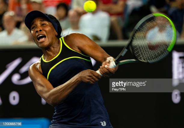 MELBOURNE AUSTRALIA JANUARY 20 Venus Williams of the United States plays a backhand in her first round match against Coco Gauff of the United States...