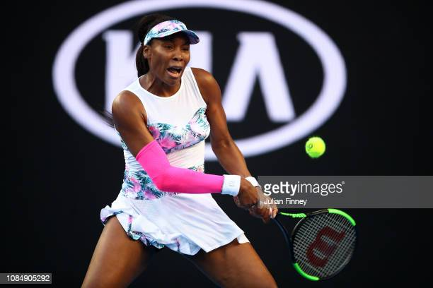 Venus Williams of the United States plays a backhand in her third round match against Simona Halep of Romania during day six of the 2019 Australian...
