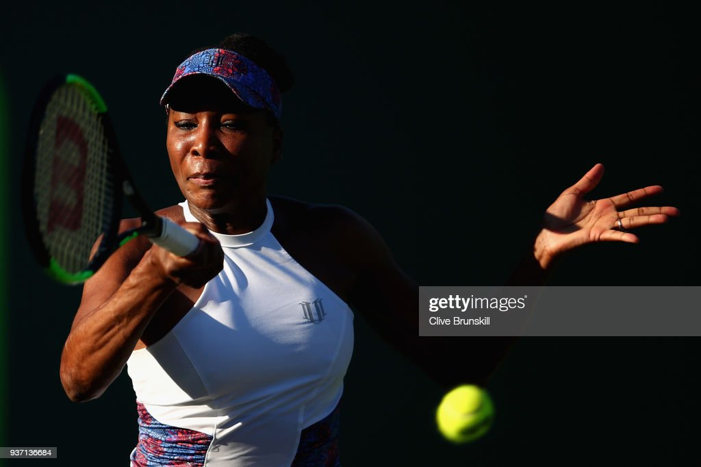 Venus Williams of the United States plays a forehand against Natalia Vikhlyantseva of Russia in their second round match during the Miami Open Presented by Itau at Crandon Park Tennis Center on March 23, 2018 in Key Biscayne, Florida.