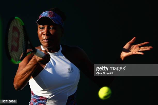 Venus Williams of the United States plays a forehand against Natalia Vikhlyantseva of Russia in their second round match during the Miami Open...