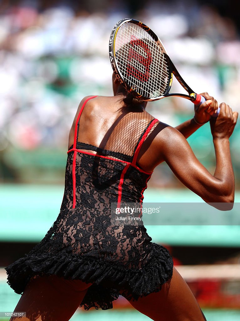 Venus Williams of the United States plays a forehand during the women's singles third round match between Venus Williams of the United States and Dominika Cibulkova of Slovakia on day six of the French Open at Roland Garros on May 28, 2010 in Paris, France.
