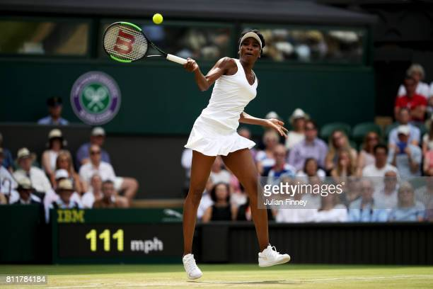Venus Williams of The United States plays a forehand during the Ladies Singles fourth round match against Ana Konjuh of Croatia on day seven of the...