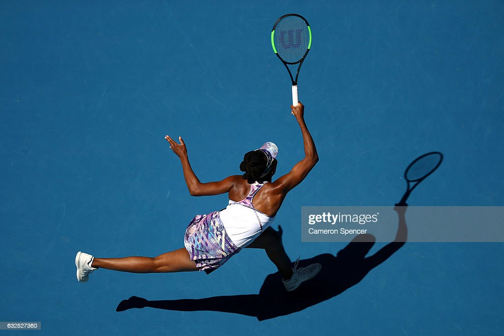 Venus Williams of the United States plays a forehand in her quarterfinal match against Anastasia Pavlyuchenkova of Russia on day nine of the 2017 Australian Open at Melbourne Park on January 24, 2017 in Melbourne, Australia.