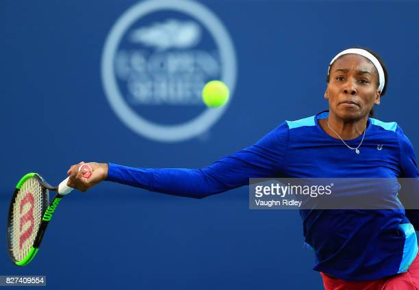 Venus Williams of the United States plays a shot against IrinaCamelia Begu of Romania during Day 3 of the Rogers Cup at Aviva Centre on August 7 2017...