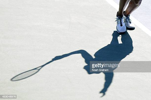 Venus Williams of the United States plays against Andrea Petkovic of Germany during Day 5 of the Bank of the West Classic at the Taube Family Tennis...