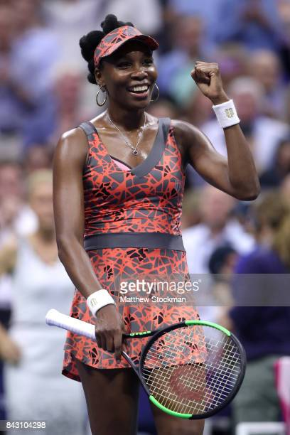 Venus Williams of the United States reacts after defeating Petra Kvitova of Czech Republic during her Women's Singles Quarterfinal match on Day Nine...