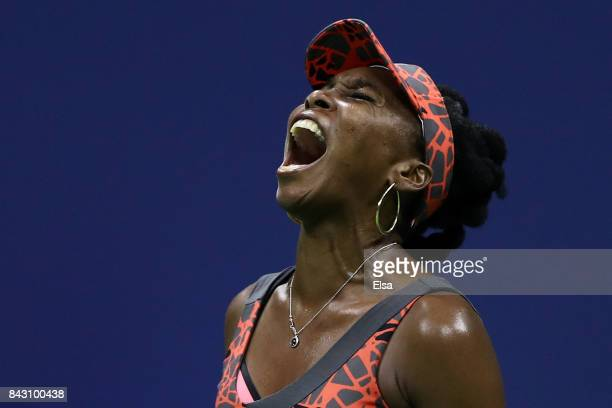 Venus Williams of the United States reacts against Petra Kvitova of Czech Republic during her Women's Singles Quarterfinal match on Day Nine of the...