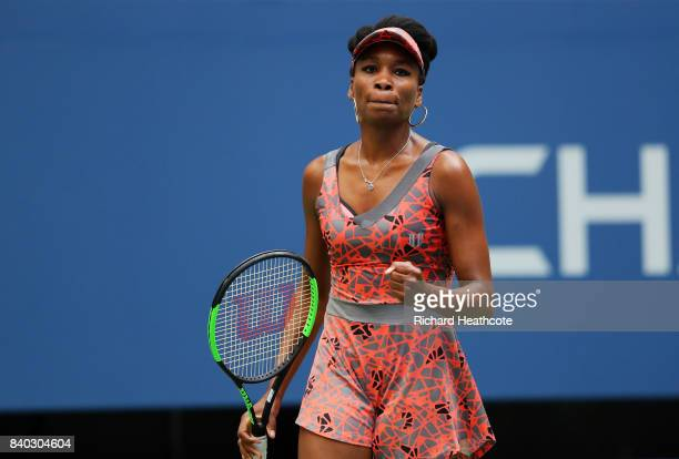 Venus Williams of the United States reacts during her first round Women's Single match against Viktoria Kuzmova of Slovakia on Day One of the 2017 US...
