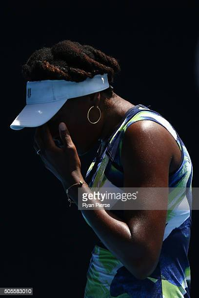 Venus Williams of the United States reacts in her first round match against Johanna Konta of Great Britain during day two of the 2016 Australian Open...