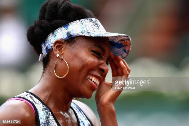 Venus Williams of The United States reacts whilst being interviewed following victory in the ladies singles third round match against Elise Mertens...