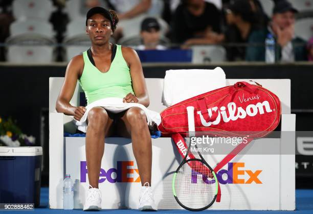 Venus Williams of the United States rests between games in her 1st round match against Angelique Kerber of Germany during day three of the 2018...