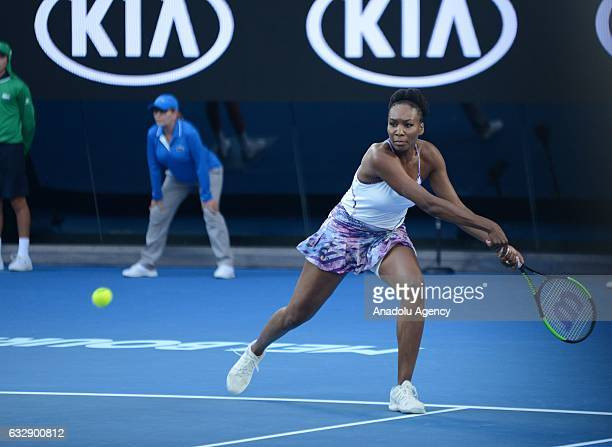 Venus Williams of the United States returns the ball in her Women's Singles Final match against Serena Williams of the United States on day 13 of the...