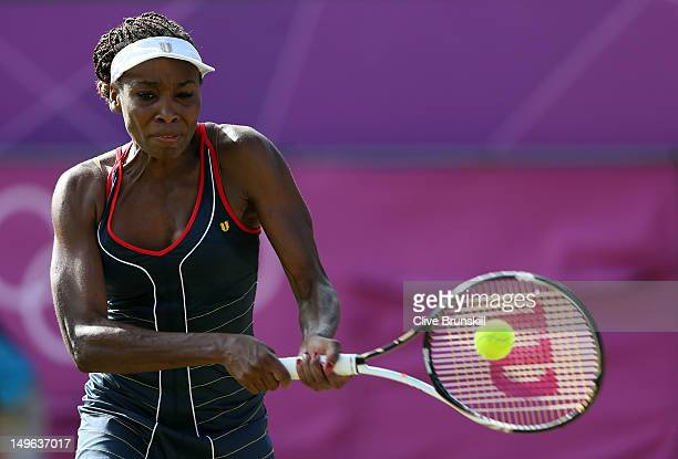 Venus Williams of the United States returns the ball to Angelique Kerber of Germany during the third round of Women's Singles Tennis on Day 5 of the...