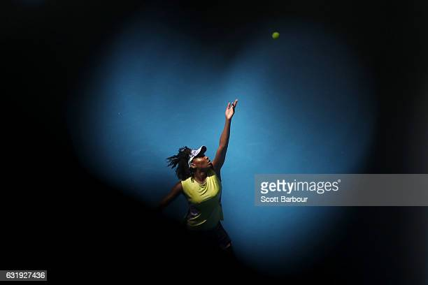 Venus Williams of the United States serves in her second round match against Stefanie Voegele of Switzerland on day three of the 2017 Australian Open...