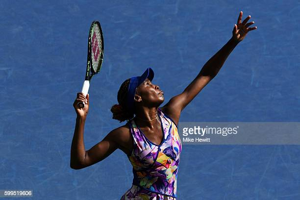 Venus Williams of the United States serves to Karolina Pliskova of the Czech Republic during her fourth round Women's Singles match on Day Eight of...