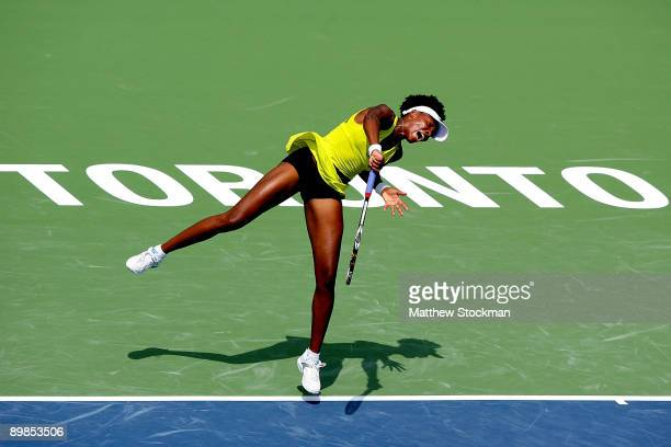 Venus Williams of the United States serves to Kateryna Bondarenko of the Ukraine during the Rogers Cup at the Rexall Center on August 18 in Toronto...