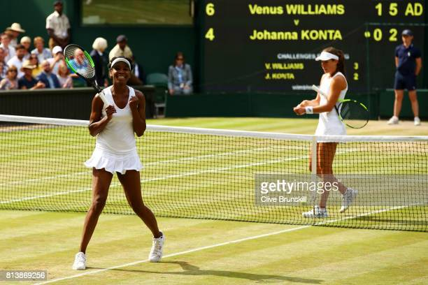 Venus Williams of The United States victory as Johanna Konta of Great Britain looks dejected during the Ladies Singles semi final match on day ten of...