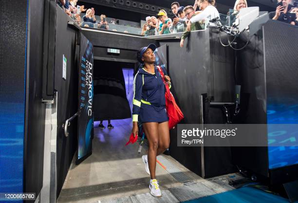 MELBOURNE AUSTRALIA JANUARY 20 Venus Williams of the United States walks on court for her first round match against Coco Gauff of the United States...