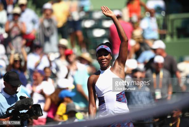 Venus Williams of the United States waves to the crowd after her three set victory against Kiki Bertens of the Netherlands in their third round match...