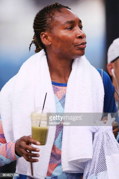 Venus Williams of the USA arrives with her smoothie during a practice session ahead of the 2018 Australian Open at Melbourne Park on January 14 2018...