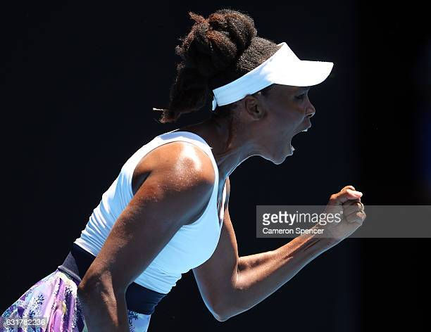 Venus Williams of the USA celebrates a point in her first round match against Kateryna Kozlova of the Ukraine on day one of the 2017 Australian Open...