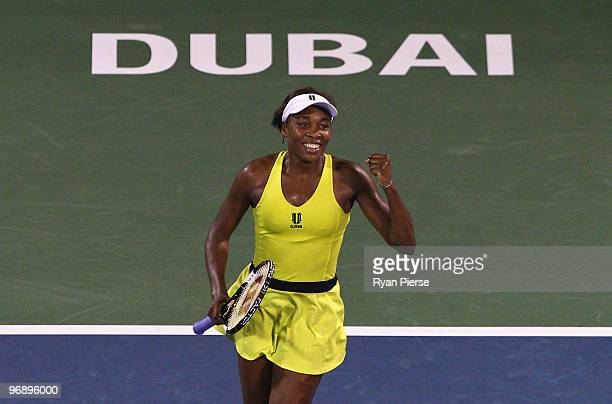 Venus Williams of the USA celebrates after winning match point during her final match against Victoria Azarenka of Belarus during day seven of the...