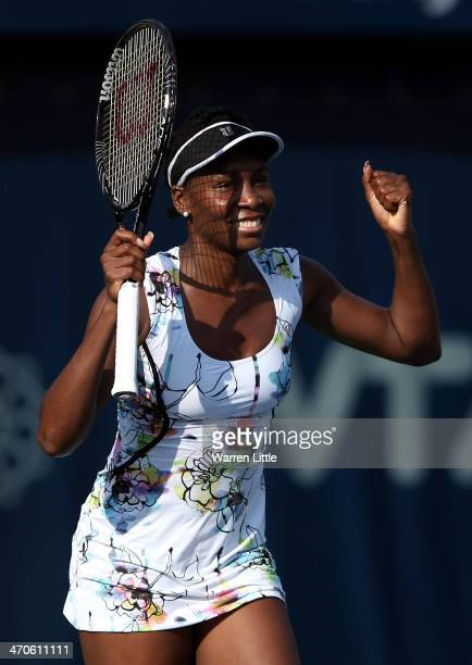 Venus Williams of the USA celebrates winning her match against Flavia Pennetta of Italy during day four of the WTA Dubai Duty Free Tennis...
