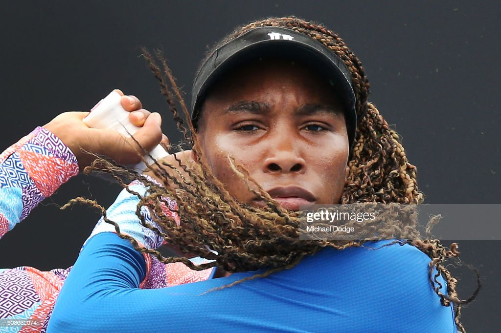 Venus Williams of the USA hits a backhand during a practice session ahead of the 2018 Australian Open at Melbourne Park on January 11, 2018 in Melbourne, Australia.