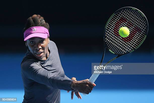 Venus Williams of the USA hits a backhand volley during a practice session ahead of the 2016 Australian Open at Melbourne Park on January 11 2016 in...