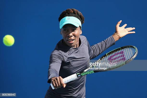 Venus Williams of the USA hits a backhand volley during a practice session ahead of the 2016 Australian Open at Melbourne Park on January 17 2016 in...