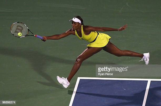 Venus Williams of the USA hits a forehand during her final match against Victoria Azarenka of Belarus during day seven of the WTA Barclays Dubai...