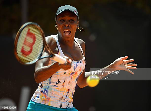 Venus Williams of the USA in action against Carla Suarez Navarro of Spain during day 4 of the Internazionali BNL d'Italia 2014 on May 14 2014 in Rome...