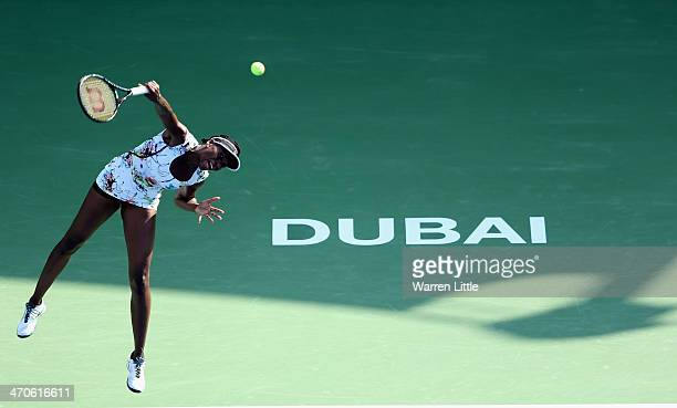 Venus Williams of the USA in action against Flavia Pennetta of Italy during day four of the WTA Dubai Duty Free Tennis Championships at the Dubai...