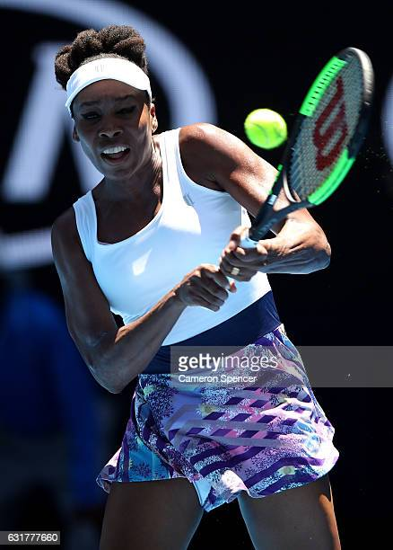 Venus Williams of the USA plays a backhand during her first round match against Katerina Kozlova of the Ukraine on day one of the 2017 Australian...