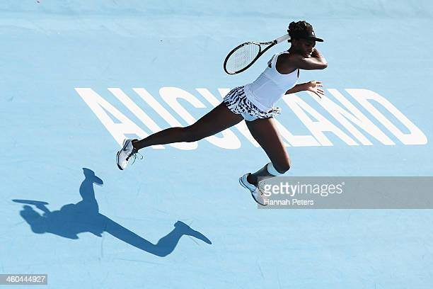 Venus Williams of the USA plays a forehand during her finals match against Ana Ivanovic of Serbia on day six of the ASB Classic at the ASB Tennis...