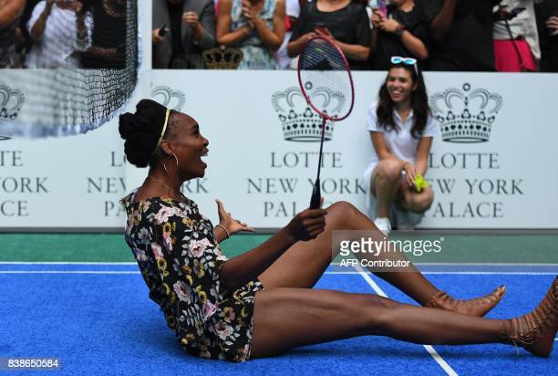 Venus Williams of the USA plays against world number one tennis player Rafael Nadal of Spain as they participate in the Lotte New York Palace...