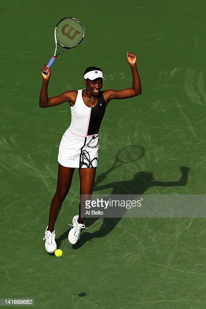 Venus Williams of the USA reacts after defeating Kimiko Date Krum during Day 3 of the Sony Ericsson Open at Crandon Park Tennis Center on March 21...