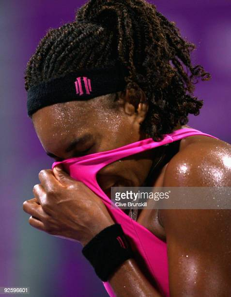 Venus Williams of the USA shows her frustration against Serena Williams of the USA in the Womens final during the Sony Ericsson Championships at the...