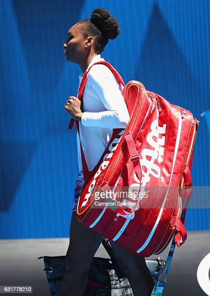 Venus Williams of the USA walks on court for her first round match against Katerina Kozlova of the Ukraine on day one of the 2017 Australian Open at...