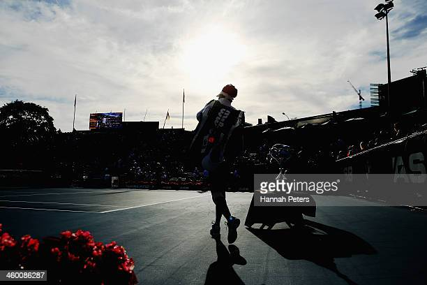 Venus Williams of the USA walks out for her quarterfinal match against Garbine Muguruza of Spain during day four of the ASB Classic at ASB Tennis...