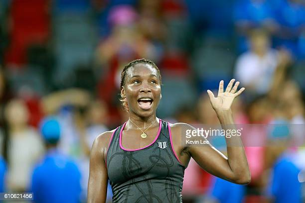 Venus Williams of United States acknowledges the spectators after defeating Yulia Putintseva of Kazakhstan in the third round match against on Day...