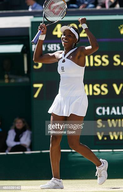 Venus Williams of United States celebrates match point and winning the Championship during the women's singles Final match against Serena Williams of...
