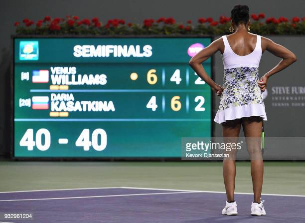 Venus Williams of United States reacts during her semifinals match against Daria Kasatkina of Russia during Day 12 of BNP Paribas Open on March 16...