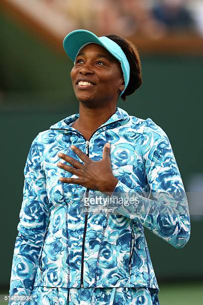Venus Williams of USA arrives on court after a 15 years absence from the event during day five of the BNP Paribas Open at Indian Wells Tennis Garden...