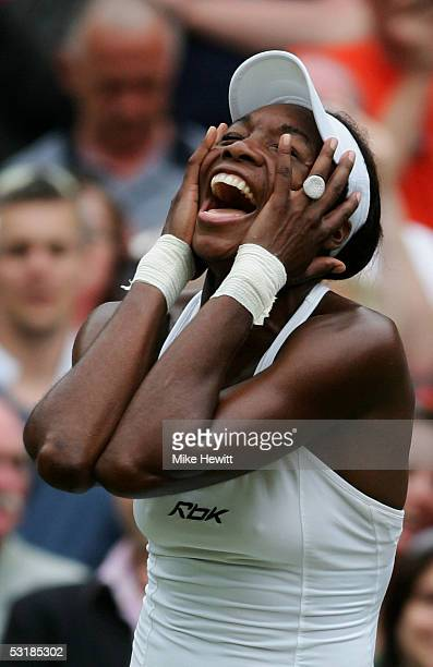 Venus Williams of USA celebrates against Lindsay Davenport of USA during the Ladies Final on twelfth day of the Wimbledon Lawn Tennis Championship on...