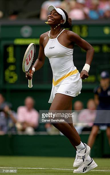 Venus Williams of USA celebrates her victory over Bethanie Mattek of USA during day three of the Wimbledon Lawn Tennis Championships at the All...